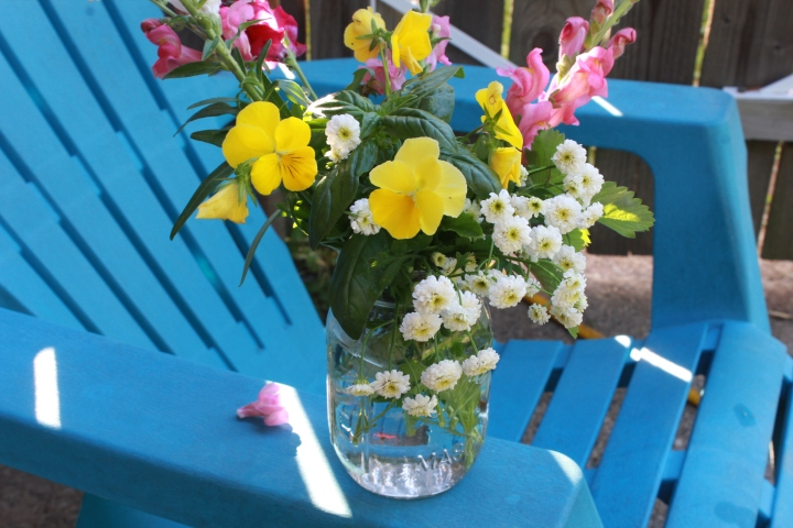 Cut Flower Garden Jar Arrangement – Snapdragons and Pansies – Growing Flowers from Seed